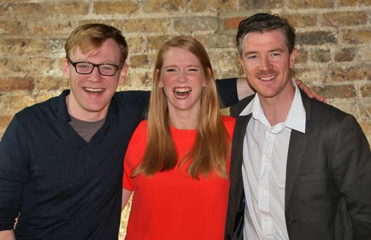 Brian Gleeson, Sophie Robinson and Barry Ward of Rebellion pictured at the launch of the new season of programmes on RTE One. Photo: Colin Keegan, Collins Dublin.