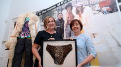 Co-curators Eimer Ni Mhaoldomhnaigh (right) and Veerle Dehaene with the underpants worn by Daniel Day-Lewis