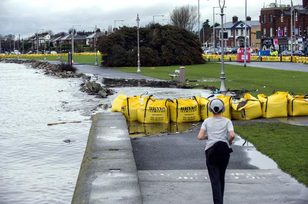 Flood defences in Clontarf, hit by high waters last year