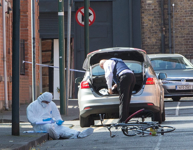 Gardai at the scene of the shooting in Boyne Street