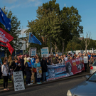 Protesters gather outside Tallaght Garda Station