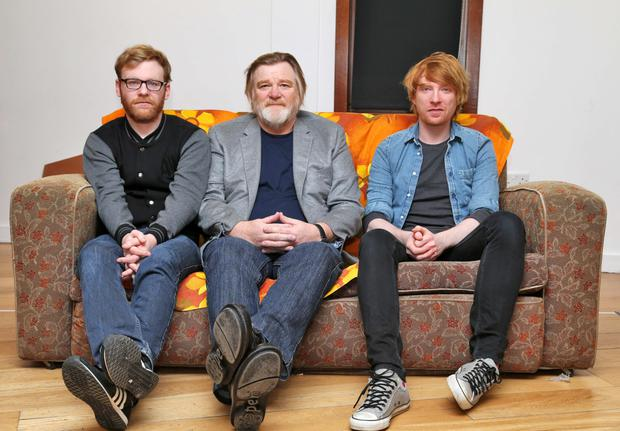 Brian Gleeson with his father Brendan and brother Domhnall.