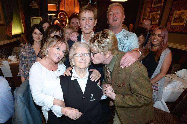 Maureen Grant who has worked at the Gaiety Theatre since 1949 celebrating her 90th Birthday in Nico's restaurant with friends and family including Dickie Rock, Red Hurley, Alan Amsby aka Mr.Pussy and James Brown