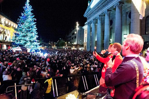 O'Connell Street as the Christmas lights are turned on