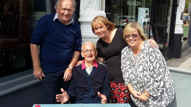Frederick O'Donnnell (78) and Jimmy O'Donnell (80) meeting up for the very first time in their lives. Also pictured are Frederick's daughters Patricia (centre) and Theresa (right).