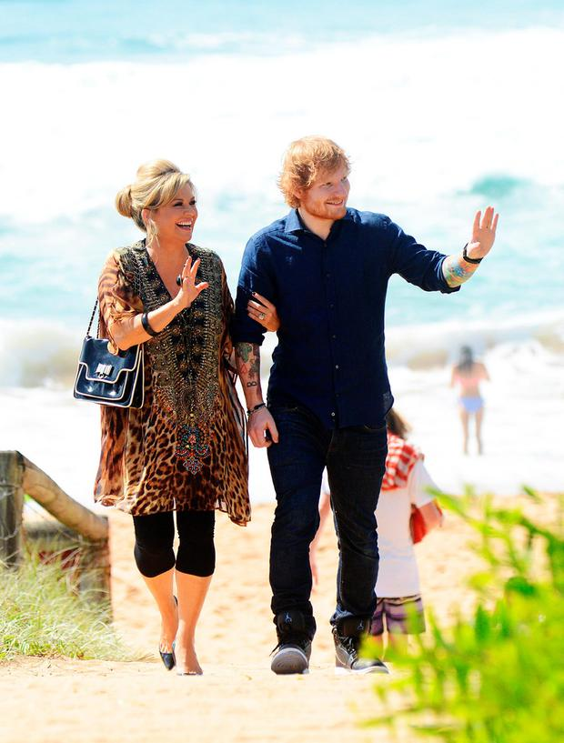 Ed Sheeran, with Emily Symons, on the set for Home And Away