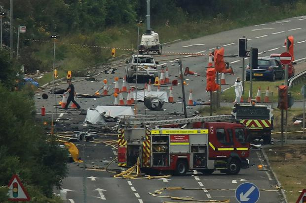 Devastation left after a Hawker Hunter jet crashed on to motorway at Shoreham