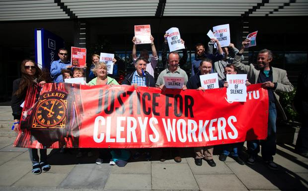 Former Clerys workers at Natrium's offices in North Wall