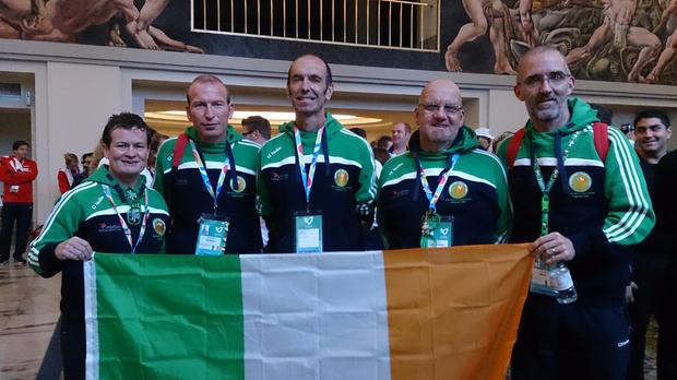 Deirdre Faul, a liver transplant recipient from Dalkey, Kieran Murray, a kidney transplant recipient from Ramelton, Donegal; Peter Heffernan, a kidney transplant recipient from Skerries, Dublin; and Colin White, Irish team manager, (from Balbriggan) and National Projects Manager with the Irish Kidney Association