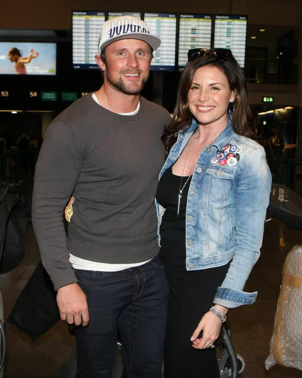 Lisa Cannon and fiance Richard Keatley at Dublin airport. Picture: Mark Doyle