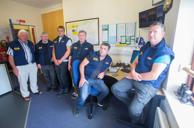 The RNLI crew – Capt Peter Ferguson, Aidan Bates, Sam Nunn, Joe Maddock, Peadar Raftery and Eugene Kehoe – who rescued the survivors after a boat capsized off the the Saltee Islands