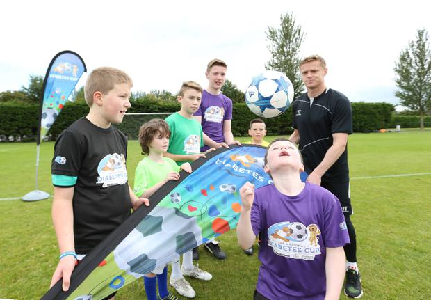 The Diabetes Cup 5-a-side soccer tournament. Damien Duff today launched a 5-a-side soccer tournament for children with diabetes. The Diabetes Cup, which takes place this Saturday, is organised by Diabetes Ireland and sponsored by Bayer and Medtronic. For m