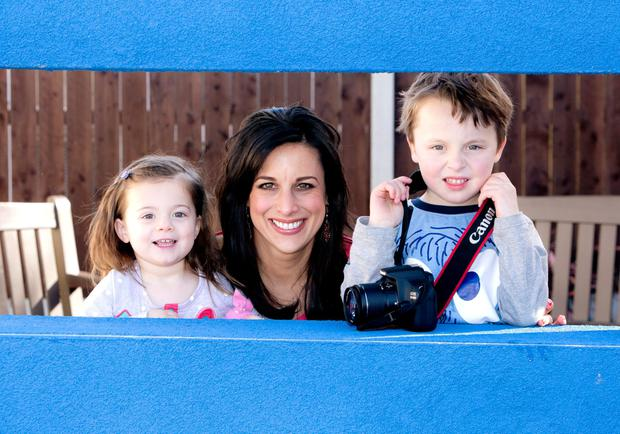 Lucy Kennedy and her children Holly and Jack