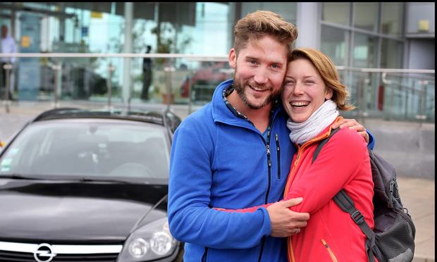 Sebastian Smulders from Berlin Germany and Lena Weiss from Vienna, Austria who were reunited with their German Opel Astra car at Opel Airside Swords which they kindly repaired after it was stolen from Sean Mac Dermott Street in Dublin City Centre.