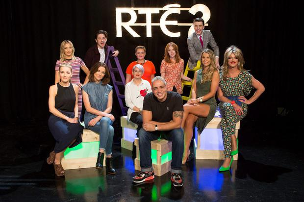 Pictured at the RTÉ2 new season launch (front) Carla O'Brien, Jennifer Maguire, Sinead Kennedy, Baz Ashmawy, Vogue Williams and Panti Bliss, (back) Blathnaid Treacy, Stephen Byrne, Louise McSharry, Angela Scanlon and Al Porter. Pic