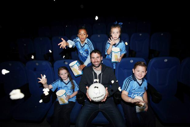 Odeon cinemas nationwide host free screening GAA Football All Ireland Senior Championship Final,Dublin footballer Bryan Cullen and kids Morgan Freeman,Charlie OReilly,Savannah Keogh and Summer O'Callaghan pictured at the Odean Dublin this afternoon…Pic Stephen Collins/Collins Photos