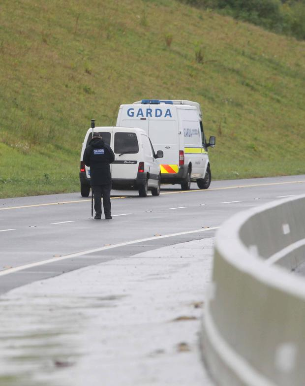 Gardai at the crash scene on the M11 in Wicklow