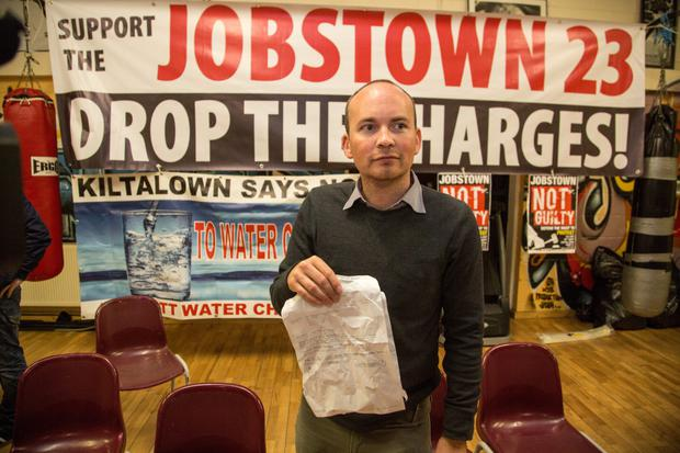 TD Paul Murphy at a press conference in Tallaght last night
