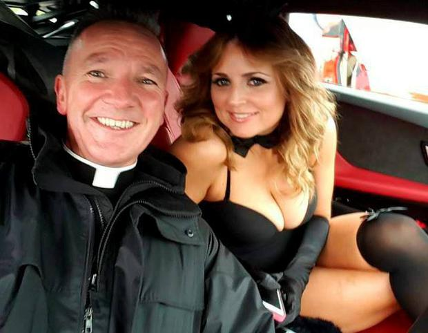 Fr John Kenny with model Emma Quinlan