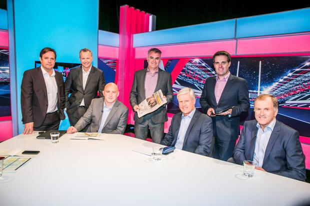 Pat Kiely,TV3 Group Commercial Director, Matt Cooper, Keith Wood, David Courtney Irish Independent Sports Editor, Matt Williams, Geoff Lyons INM Group Marketing Director and Hugo McNeill pictured on the set of the TV3 Rugby Panel announcing the INM TV3 Partner