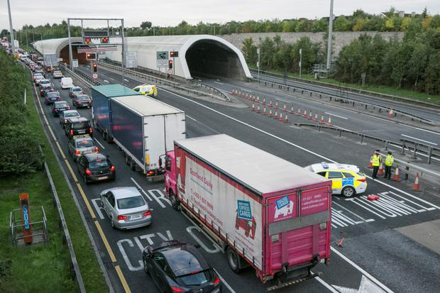 Traffic Chaos at the M1 entrance to the Port Tunnel this morning after a Truck caught Fire in the Tunnel