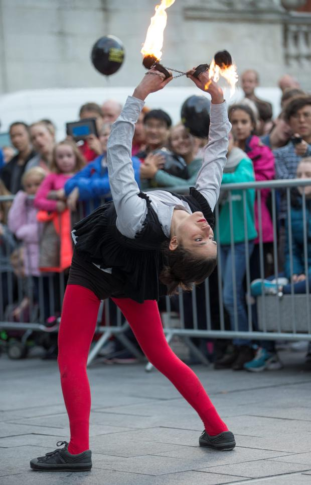 Ericka Brocca bends over backwards to please the crowds