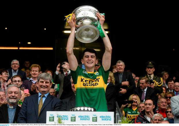20 September 2015; Mark O'Connor, Kerry, lifts the cup. Electric Ireland GAA Football All-Ireland Minor Championship Final, Kerry v Tipperary, Croke Park, Dublin.
