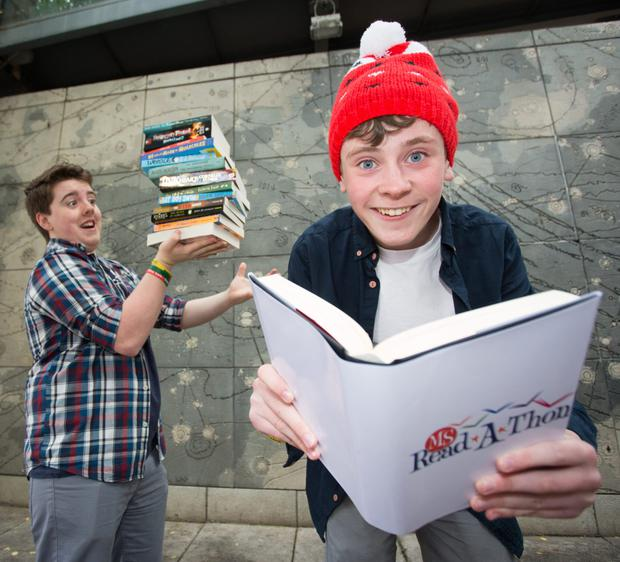 Pictured at the launch of the 28th annual MS Readathon was from left Moone Boy actors