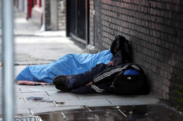 Sleeping rough on Store Street in Dublin city