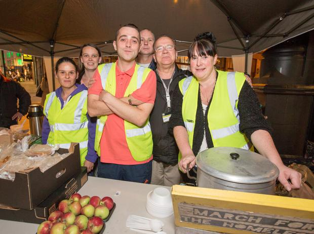 The March for The Homeless Team (from left) Lisa Daly, Kathleen Maher, Darren Bradley, Pastor, James White, John Martin and Sinead Kane, at their food stand at Grafton St last night.