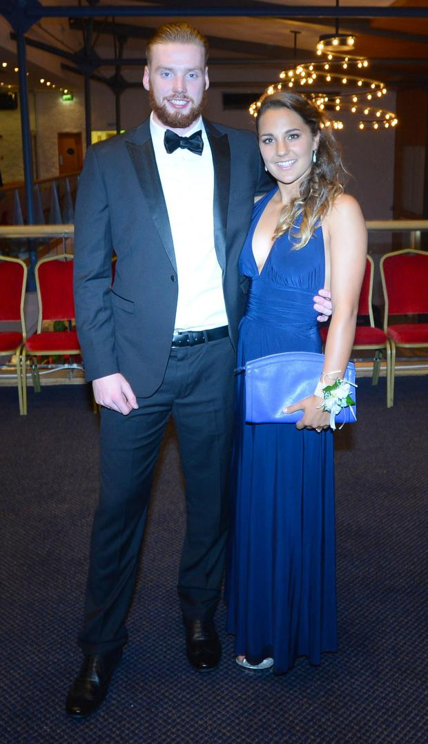 18/09/15. Michael O'Toole (19) and Elaina Tice (17) wearing a dress her Aunt made at the St.Gerards Debs held in the Pavillion in Leopardstown.