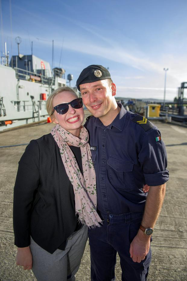 Naval Service Leading Medic John Schwartau and his wife Kinga at Haulbowline