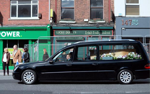 The remains of Patty Duffy are brought to Parnell St before burial in Glasnevin Cemetery
