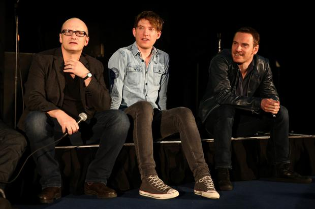 Lenny Abrahamson and Domhnall Gleeson and Michael Fassbender