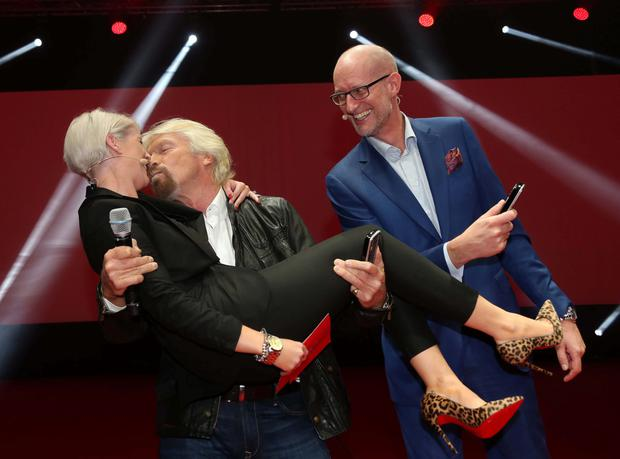 Richard Branson and Sinead Kennedy pictured at the RDS with Magnus Ternsjo CEO of UPC Ireland, now Virgin Media in Ireland for the announcement that UPC Ireland is to become Virgin Media