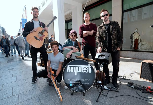Keywest before performing on Grafton Street, Dublin