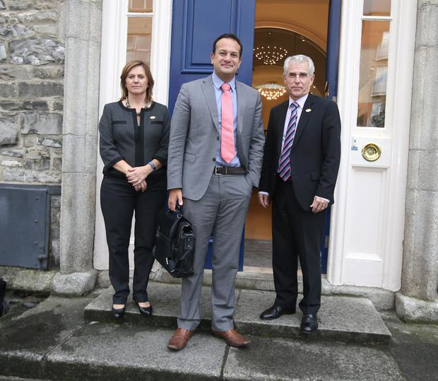 The Minister for Health, Leo Varadkar TD, with Claire Mahon, President of the The Irish Nurses and Midwives Organisation, (INMO), and Liam Doran, INMO General Secretary