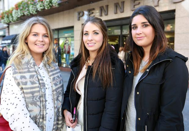 Sarah Mac Giollaroigh with Claire Ryan and Hannah Meaney all from Templeogue pictured on Dublin's O'Connell Street