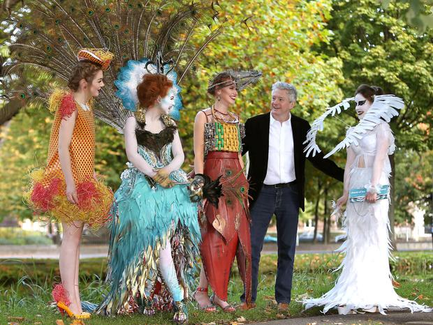 Louis Walsh with Sarah Cox and Rebecca Breslin at the launch of the Bank of Ireland Junk Kouture competition