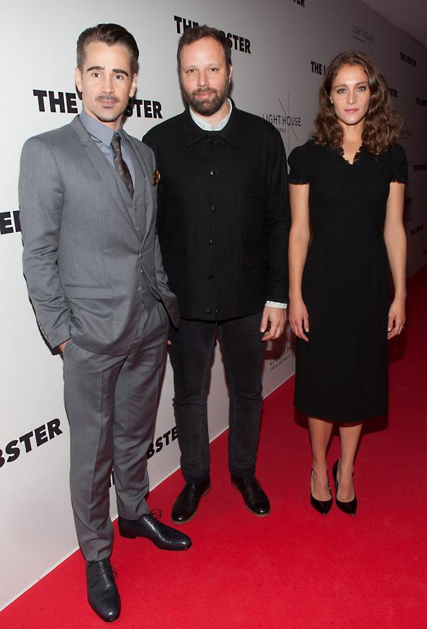 Colin Farrell with director Yorgos Lanthimos and actress Ariane Labed at the Irish premiere of The Lobster