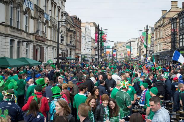 Fans ahead of the France v Ireland Rugby World Cup 2015 match at the Millennium Stadium on October 11, 2015 in Cardiff, Wales.