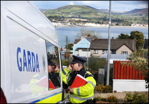 Gardai at the estate entrance at the scene of the fatal shooting involving Garda Tony Golden at Mullach Alainn housing estate in Omeath Co Louth.