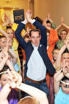 Children from the Joan Denise Moriarty School of Dance, Cork pictured meeting presenter Ryan Tubridy and performing the Bollywood routine Jai Ho at the The Late Late Toy Show auditions