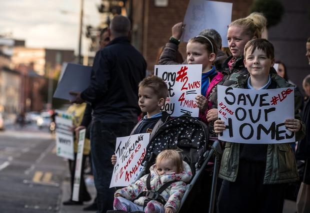 Longboat quay resident's Leana Purdy and her four children  Abigail  (11) Richard (11) Roman (7) and Reagan (1) protesting outside Nama's office in Dublin