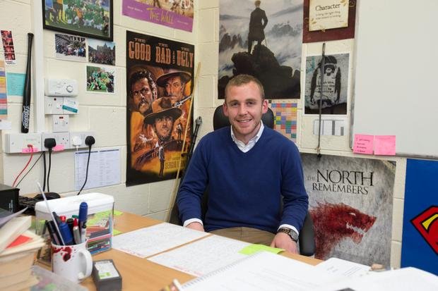 Teacher Fergal Douglas pictured in his classroom at Colaiste Padraig CBS, Lucan.