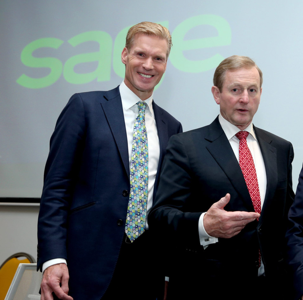 Stephen Kelly, CEO of Sage, with Taoiseach Enda Kenny