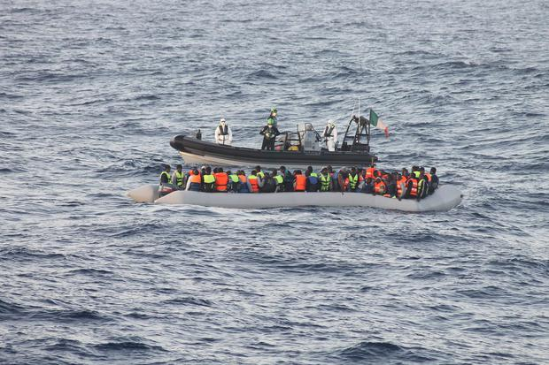 Crews from the LE Samuel Beckett are pictured rescuing another 102 people from the waters of the Mediterranean – bringing the total number of migrants rescued by Irish Naval ships there to 577