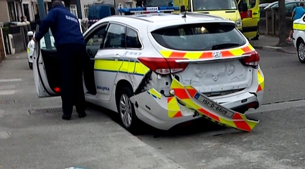 The damaged garda car after it was rammed with a stolen car. Two gardai escaped injury