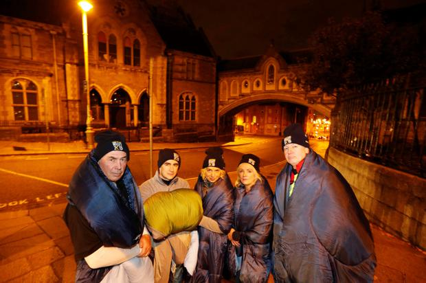 NO REPRO FEE Released 18/10/2015. 125 Business Leaders Sleep Rough in Dublin and Cork to Help