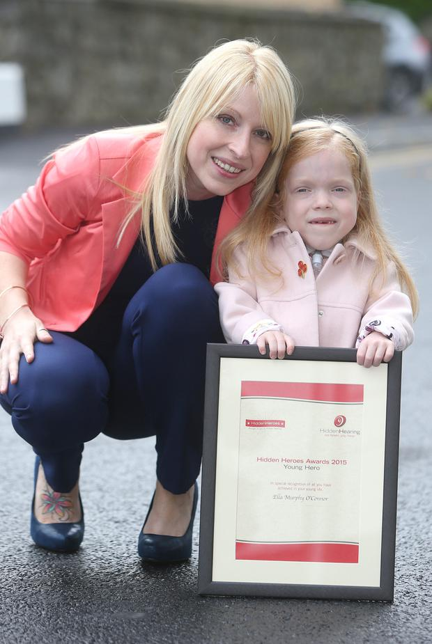 Ella Murphy O'Connor, 6, who received a Special Recognition Award with her mum, Diane Murphy at Ireland's Hidden Hero's Awards 2015 which were held at the doubletree hotel Dublin, Picture credit; Damien Eagers 19/10/2015